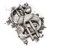 Tarifa de cambio del Dólar abajo representación 3D del símbolo de piedra destruido del dólar en un fondo blanco Foto de archivo libre de regalías
