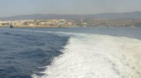 Tarifa seen from the sea Stock Photos