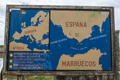 Tarifa, Spain, Andalusia, Iberian Peninsula, Europe. Tarifa, 23/04/2016: the map on Isla de las Palomas Pidgeon Island indicating the southernmost point of the royalty free stock images