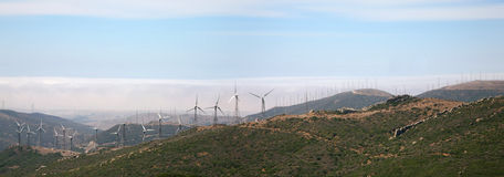 Tarifa wind mills with blue sky Stock Photography