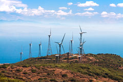 Tarifa wind mills with sky Stock Image