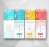Tarifas ajustadas da oferta bandeira do vetor do ux do ui para a Web app ajuste a tabela da fixação do preço, ordem, caixa, botão ilustração royalty free