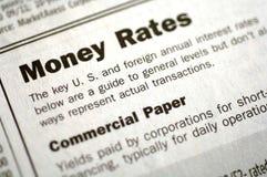 Tarifas del dinero y papel comercial foto de archivo libre de regalías