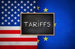 Tarifas entre Estados Unidos y la unión europea fotografía de archivo libre de regalías