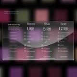 Tarife und Preisliste Netzelemente Planhosting Vektordesign für Netz-APP Preiskalkulationstabelle, Fahne, Knopf, Stockbild