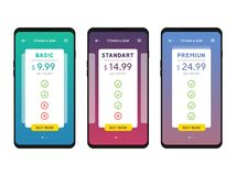 Tariff plans mobile Ui interface for web apps template royalty free illustration