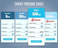 Tariff Pricing Table with Labels Royalty Free Stock Photo
