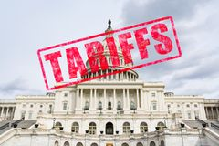 Tariff Stamp on United States Capitol. Tariff stamp effect on United States Capitol Building royalty free stock photos