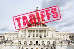 Tariff Stamp on United States Capitol. Tariff stamp effect on United States Capitol Building Royalty Free Stock Photos