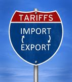 Tariffs sanctions for imports and exports. Road sign message stock image