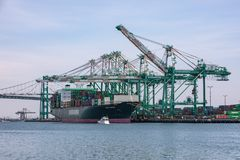 Tariffs and Trade War cargo container ship Royalty Free Stock Photo