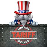 Tariffs United States. For steel and aluminum as a stamp on metal background as an economic trade taxation dispute over import and exports with 3D illustration Stock Image