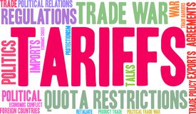 Tariffs Word Cloud stock illustration