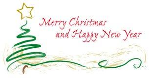 Tarjeta, árbol y estrella pintados de felicitaciones de la Navidad Foto de archivo