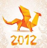 Tarjeta 2012 del dragón de Origami Imágenes de archivo libres de regalías