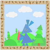 Tarjeta abstracta con el conejo stock de ilustración