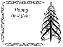 Tarjeta abstracta con el ornamento floral de colores blancos y negros Árbol de navidad negro Tarjeta de la Feliz Año Nuevo Imagen de archivo