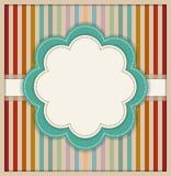Tarjeta abstracta con la flor y el fondo rayado retro colorido Fotos de archivo