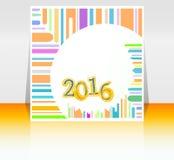 Tarjeta abstracta del Año Nuevo 2016 Tarjeta de felicitación multicolora del día de fiesta Diseño plano creativo, concepto para l Fotos de archivo
