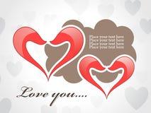 Tarjeta abstracta del amor con los corazones rojos Imagen de archivo