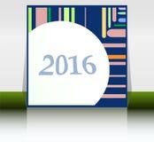 Tarjeta abstracta del Año Nuevo 2016 Tarjeta de felicitación multicolora del día de fiesta Diseño plano creativo, concepto para l Fotografía de archivo