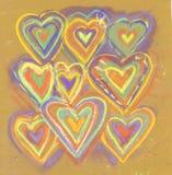 Tarjeta abstracta dibujada mano de las tarjetas del día de San Valentín del creyón Fondo de la vendimia Fondo de la tarjeta del d Fotografía de archivo libre de regalías