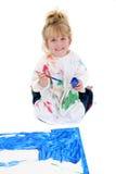 Tarjeta adorable del cartel de la pintura de la chica joven en suelo Imagen de archivo libre de regalías