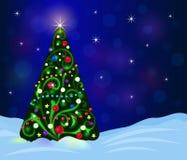 Tarjeta adornada del árbol de navidad libre illustration