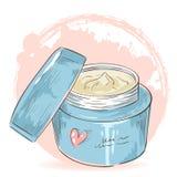 Tarjeta aislada tarro de la crema del maquillaje de Skincare stock de ilustración