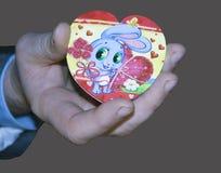 tarjeta al corazón el día del ` s de la tarjeta del día de San Valentín Imagenes de archivo