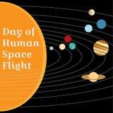 Tarjeta al día de vuelo espacial humano Fotografía de archivo libre de regalías