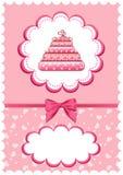 Tarjeta alegre de los bebés con la torta. Foto de archivo libre de regalías