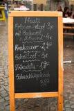 Tarjeta alemana del menú en la calle Fotografía de archivo libre de regalías