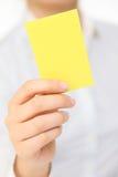 Tarjeta amarilla Foto de archivo libre de regalías
