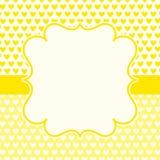 Tarjeta amarilla del día de tarjetas del día de San Valentín de los corazones Imágenes de archivo libres de regalías