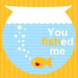 Tarjeta anaranjada del día de tarjetas del día de San Valentín de los pescados Foto de archivo libre de regalías