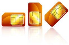 Tarjeta anaranjada del sim Fotos de archivo