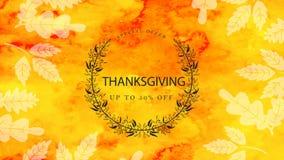 Tarjeta animada del día de la acción de gracias con las hojas de otoño que caen almacen de video