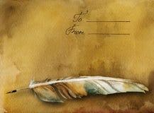 Tarjeta antigua con la pluma de la pluma ilustración del vector