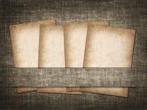 Tarjeta antigua en el fondo del lino Imágenes de archivo libres de regalías