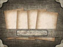 Tarjeta antigua en el fondo del lino Fotografía de archivo