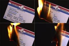Tarjeta ardiendo del seguro de los E.E.U.U. Seguro de enfermedad Foto de archivo