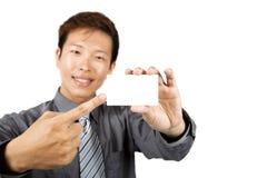 Tarjeta asiática de la show business del hombre de negocios Fotos de archivo libres de regalías
