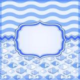 Tarjeta azul con el marco de escritura de la etiqueta elegante Foto de archivo libre de regalías