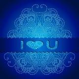 Tarjeta azul con la mandala y una declaración del amor Imagen de archivo libre de regalías