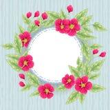Tarjeta azul con las flores rosadas Fotografía de archivo