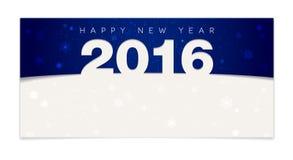 Tarjeta azul de la Feliz Año Nuevo 2016 Foto de archivo libre de regalías