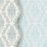 Tarjeta azul de la invitación del damasco del vintage Imagen de archivo