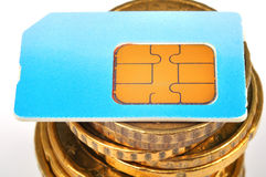 Tarjeta azul de SIM Imagen de archivo libre de regalías
