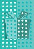 Tarjeta azul del fondo de la caja de regalo Imagenes de archivo
